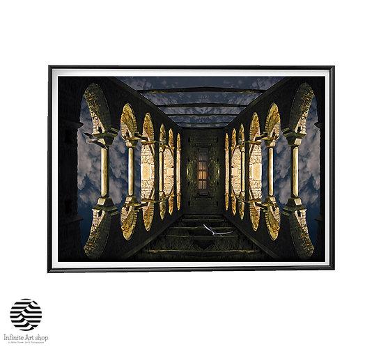 Castle in the Sky,Surreal Art Print,Fantasy Artwork,Dreamy Art,Wall Art Decor,Fairy Art Print ,Instant Download,Trendy art .