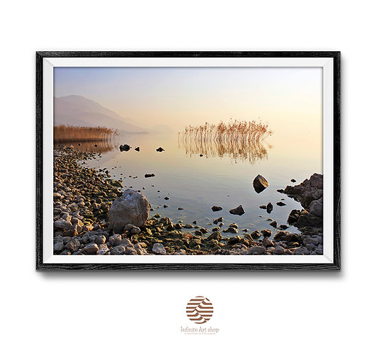 Sunset Wall Art,Ohrid lake Print,Coastal Wall Art,Nature Landscape Photography,Reed Print,Rocky Beach Print,Digital Download.