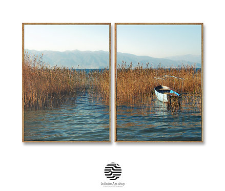 Nature Minimalist Lakescape Photography,Coastal Reeds Prints,Set of 2 Ohrid Lake Print,Fall Color,Lonely Boat,
