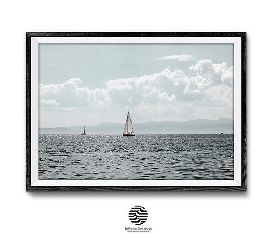 Sailboat Lake Wall Art,Boat Print,Nautical Art,Nature Landscape, Blue Print,Horizontal,Digital Download,Trendy