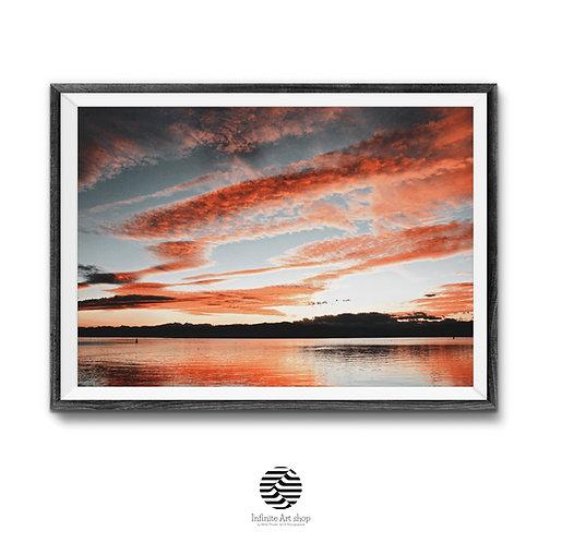 Red sunset Photography,Digital Download Clouds Wall Art Print,Lake,Beach Print Ohrid Lake Print,Trendy Sunset Wall Art