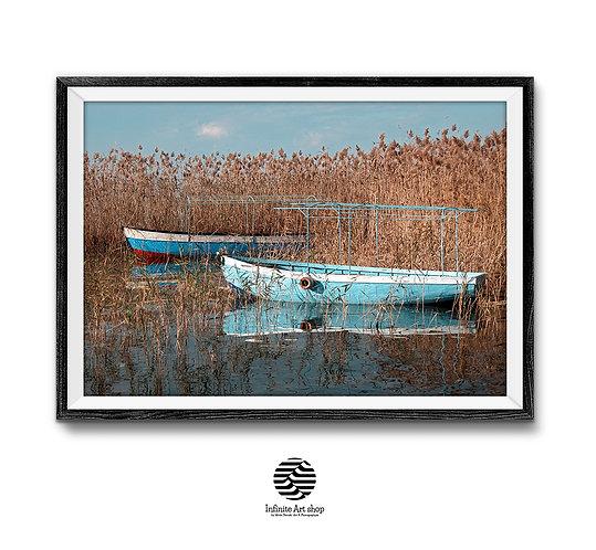 Boats Wall Art Print ,Digital Download,Coastal Wall Art,Lake Print,digital Download,Large Print,