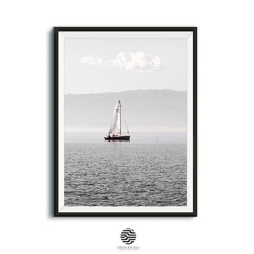 Printable Minimalist Boat Wall Art Print,Vintage Sailboat Print,Nautical Wall Decor,Lake Wall Decor,Water Sport,