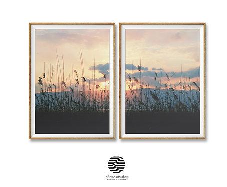 Set of 2 Landscape printable art,Reed print,Sunset Landscape print,Reed Wall Art
