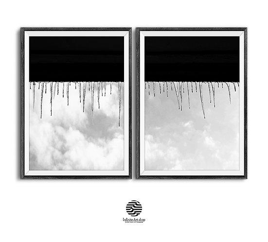 Set of 2 Minimalist Winter Prints,Minimalist Ice Poster.Black and White Icicles Wall Art,Digital Download,Fine Art Print.