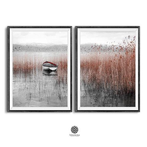 Set of 2 Coastal Wall Art Prints,Boat Print,Reed Print,Ohrid Lake Print,Beach Print,Nature Landscape Photography,Lake Print,