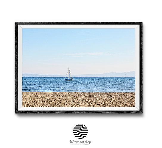 Sandy Beach Print,Sailboat Artwork,Coastal Wall Art Print,Ohrid Lake,Digital Download,Trendy Art Print.