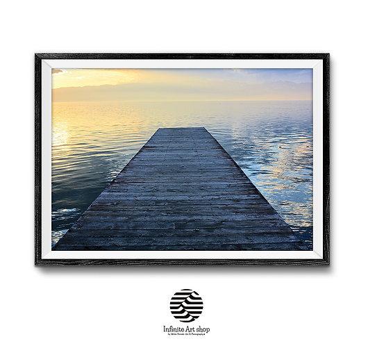 Sunset Wall Art Print ,Digital Download,Pier Photography,Lake Print,Ohrid Lake,