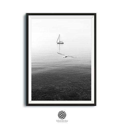 Sailboat Print,Black and White Print,Bird Print,Minimalist Wall Art,Coastal Print,Nautical,Retro,Downloadable Prints
