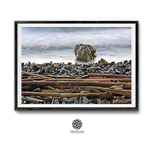 Pebbles Beach Print,Beach Wall Art,Sunset Print,Ohrid Lake Print,Wave Wall Art,Digital Download,Trendy Wall Art.
