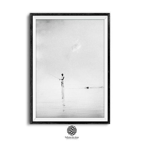 Vintage Fisherman Art Print,Fisherman Retro Photography,Black and White Wall Art,Minimalist retro art poster,Trendy wall art