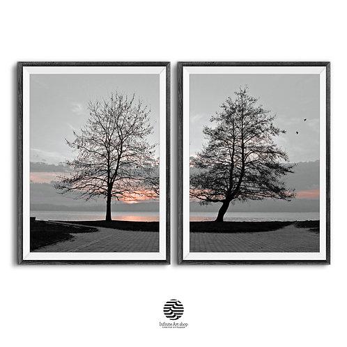 Tree Branches Wall Art,Set of 2 Winter Sunset,Monochrome Wall Art,Lake Print,Coastal Wall Art Photography,Minimalist Wall Art