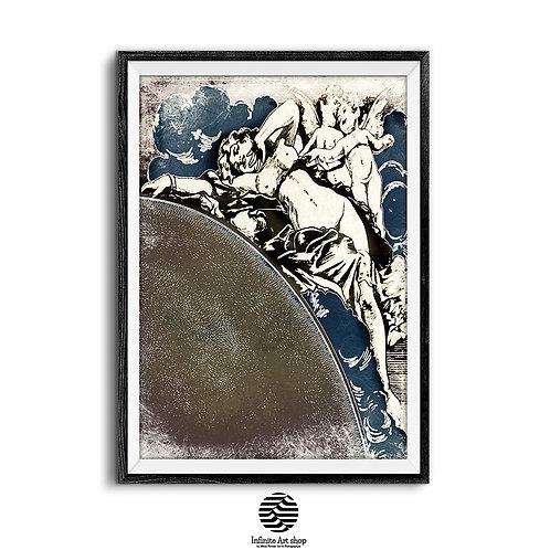 Retro Wall Art Print ,Digital Download,Vintage wall art,Sun print,extra large wall art,gold,blue,