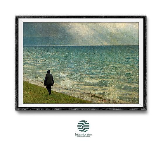 Coastal Fantasy Art Print,Surreal Art Work,Surreal Nature Landscape,Coastal Artwork,Digital Download,Trendy Wall Art Prints.