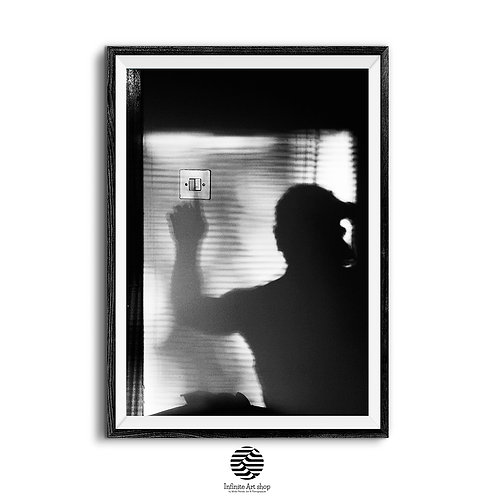 Reset,Black and White Fine Art Print,Minimalist,Light and Shadows Print,Dark Art Print,Silhouette Photo,Man,Digital Download