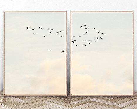 Set of 2 Flock of Birds Print,Printable Clouds Wall Art,Digital Download,