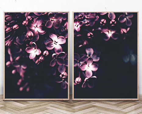 Lilac Flower Print,Set of 2 Flowers Wall Art,Blooming Flowers Photography,Botanical Wall Art,Digital Download,