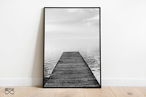 Wooden Pier Print,Minimalist Wave Poster,Black and White Landscape Photography,Digital Download,Trendy Wall Art Print