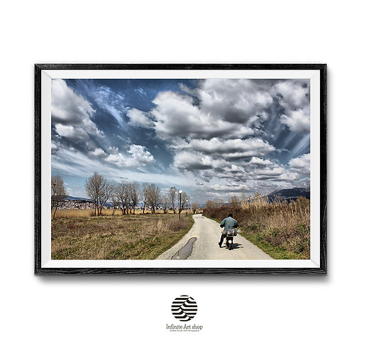Road and Clouds Print ,Digital Download,Street Photography,