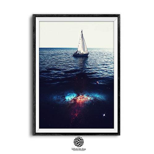 Fantasy Art Print,Galaxy Art Print,Sailboat Artwork for wall,Surreal Art Print,Nautical,Digital Download,Trendy Wall Art