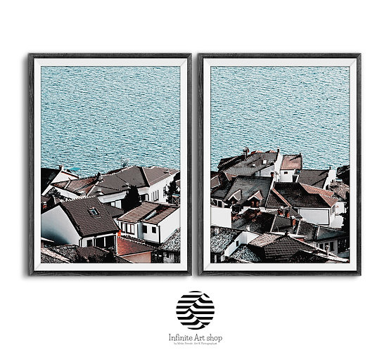 Set of 2 Roof Photography,House poster,Lake Print,Roof Tiles Print,Coastal Photography,Digital Download,Trendy Wall Decor.