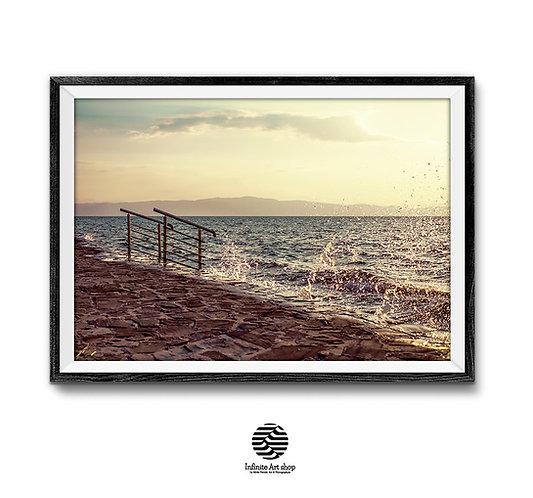 Wave Wall Art,Lake Beach Print,Sunset Wave Print,Colorful,Cloud ,Summer Light Photography,Digital Download,