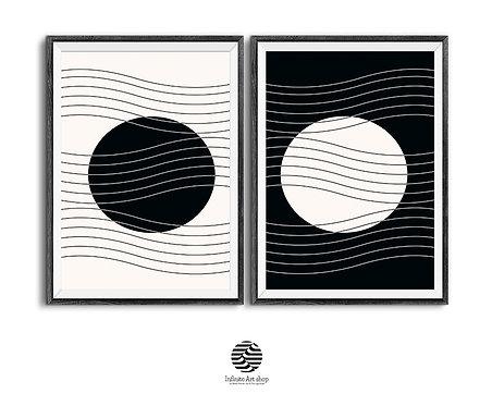 Set of 2 Geometric Wall Art Prints,Black and White,Trendy Geometry Wall Art,Line Prints,Minimalist Print,Digital Download,