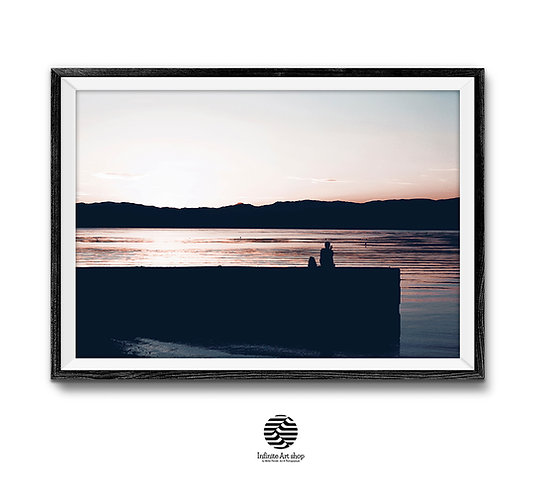 Beach Wall Art, Sunset Print, Meditation,Ohrid Lake Sunset Print,Silhouette Print,Pier Print,Digital Download,