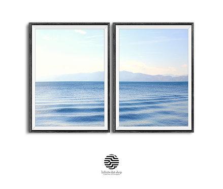 Blue Waves Posters 2 Piece,Digital Coastal Set,Large Lake Prints,Minimalist Waves Set,