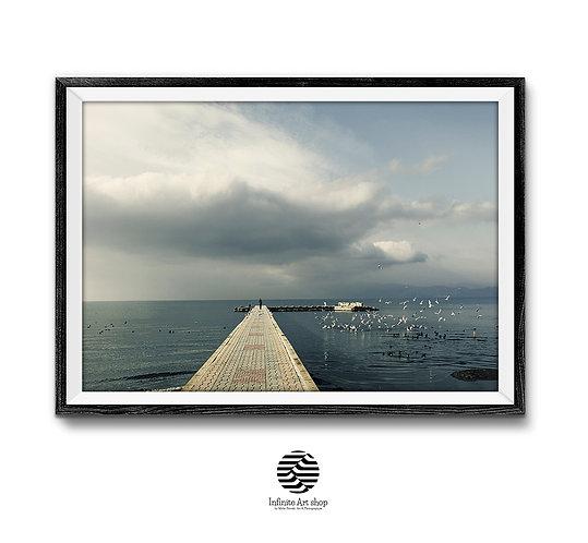 Clouds Wall Art Print,Coastal Print,Ohrid Lake Pier Print,Birds Print,Horizontal Landscape Photography,Digital Download,