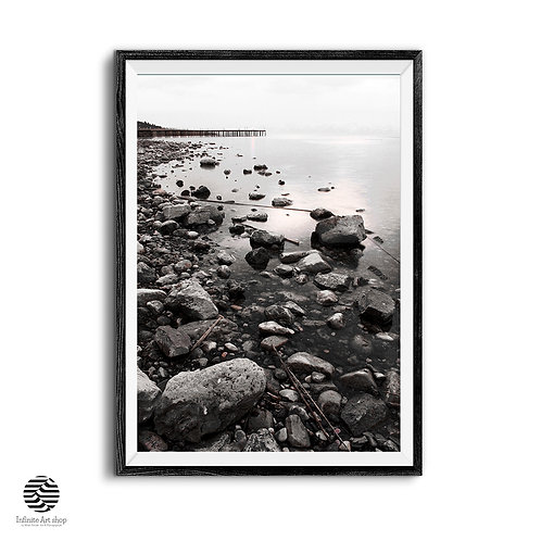 Rocky Beach Photography,Coastal Wall Art,Nature Landscape Photography,Pier Prints,Digital Download.