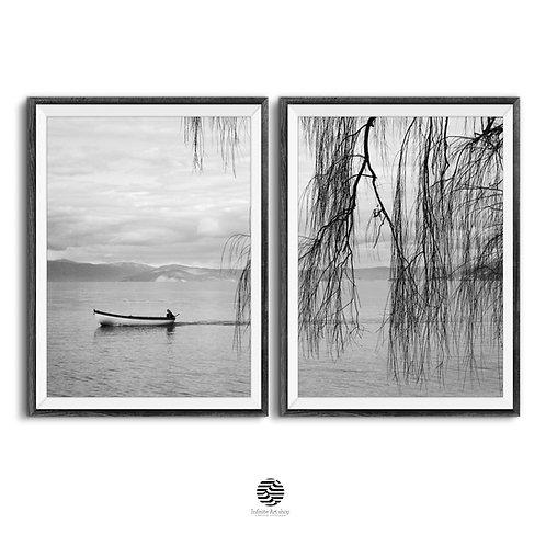 Set of 2 Black and White Coastal Wall Art Print,Boat Print,Fisherman,Willow Branches,Ohrid Lake Print,Clouds Print,