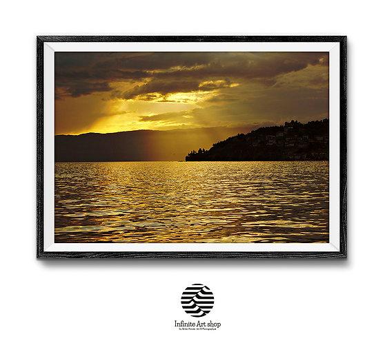 Golden Sunset Print,Nature Landscape Wall Art,Coastal Print,Silhouette,Digital Download,