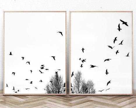 Set of 2 Birds Print,Branches wall art,Digital Download,Nature Print,