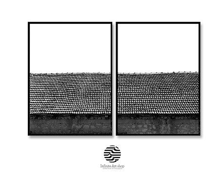 MinimalistPhotography,Set of 2 Roof Print,Simple Printable Wall Art,Old Roofs,Black And White,Digital Download,Trendy Print