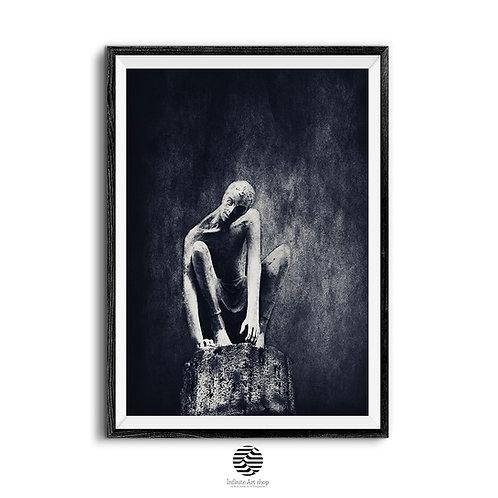 Dark Surreal Artwork,Black and White Human Figure Art Print,Trendy digital Artwork,Digital Download,Trendy Art Print Ideas.
