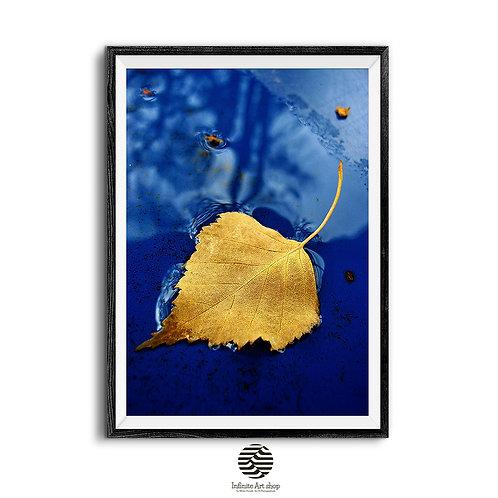 Golden Leaf Art ,Print Digital Download,Autumn,Macro Leaf Print,Fall colors,Instant Download,