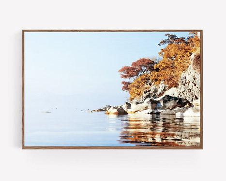Rocky Coast Print,Landscape Beach Photography,Fall Wall Art,Lake Print,Printable Beach Wall Art,