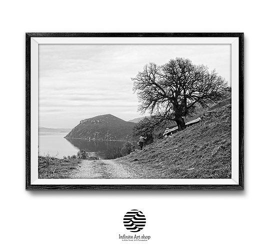 Black and White Landscape Print,Nature Wall Art,Village Road,Digital Download,Landscape Wall Art.