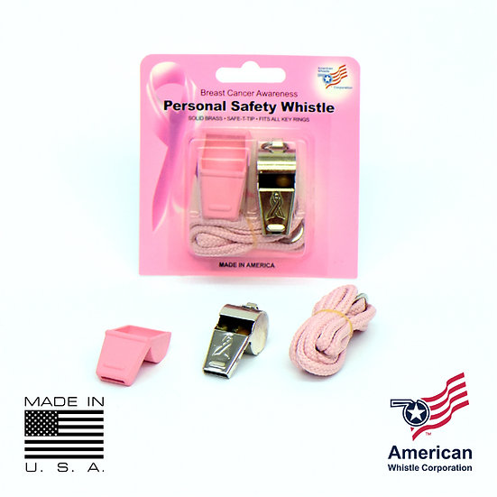 THE PINK RIBBON PERSONAL SAFETY WHISTLE (3 PACK)