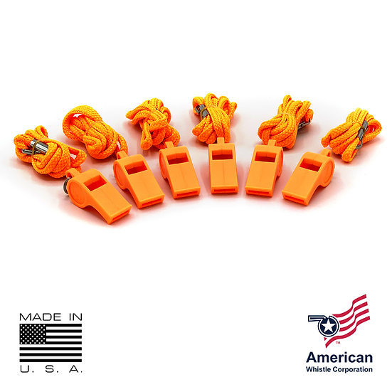 THE AMERICAN PATRIOT PERSONAL SAFETY WHISTLE & LANYARD (6 PACK)