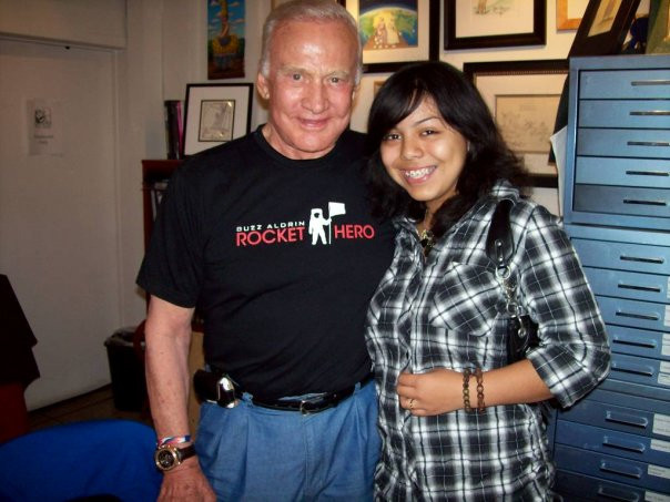 Grissel and Astronaut Buzz Aldrin at kimberly moore foundation