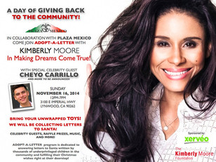 Join Kimberly Moore at Plaza Mexico November 16th for a Day Of Giving Back to the Community.