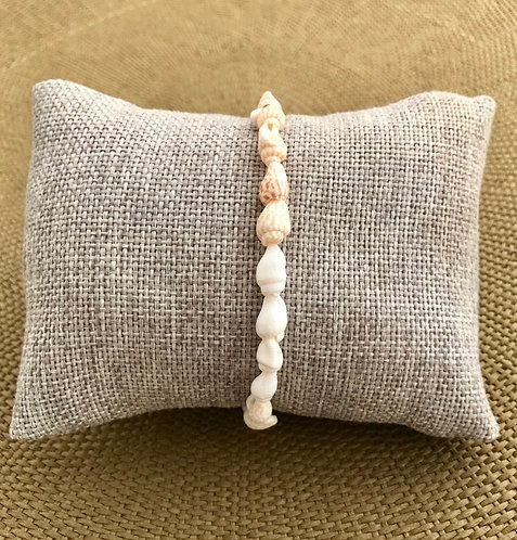 Bracelet Coquillage cordon Écru