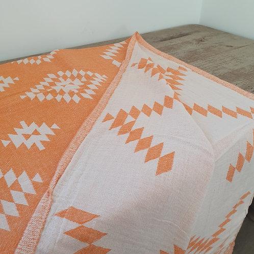Fouta Luxe Réversible Motif Losange Orange Cotonnade à L'Ancienne