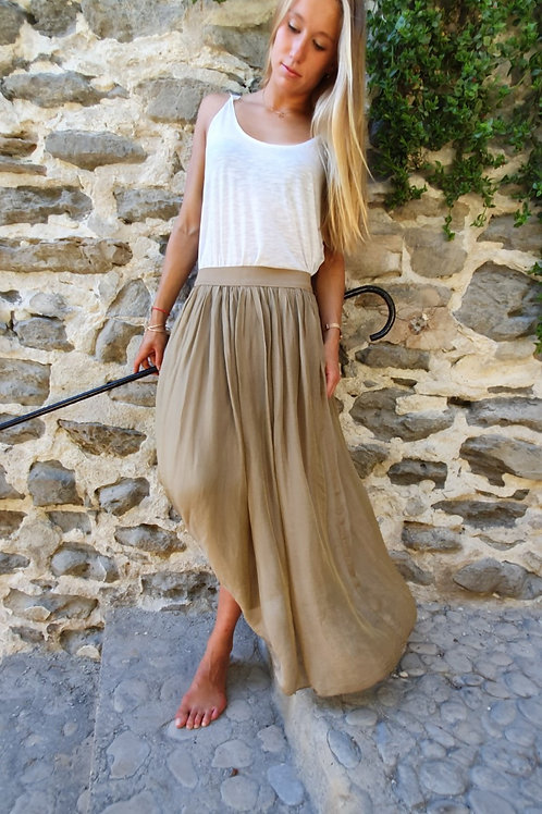 Jupon Long Imprimé Uni Camel Ninette