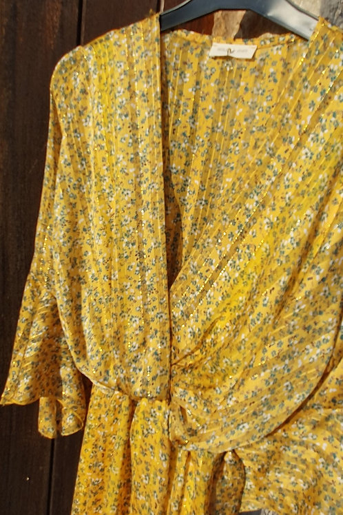 Robe Longue  Imprimé Liberty Jaune Manche Volant Holly & Joey