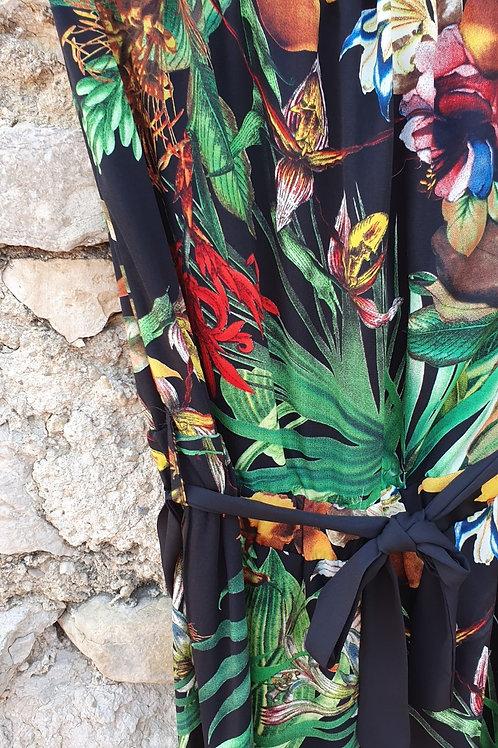 Combinaison Bustier Imprimé Floral Ivoire Fushia Scarlet Roos