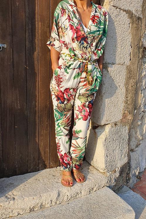 Combinaison Manche Courte Imprimé Floral Ivoire Fushia Scarlet Roos