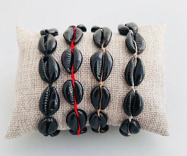 Bracelet Cauri Noir cordon coloré ajustable